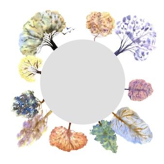 白い背景の上の冬の森の花輪。手描きの水彩イラスト。