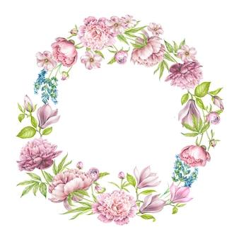Wreath of rose flowers.