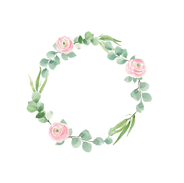 Wreath of roses and green leaves for wedding invitations