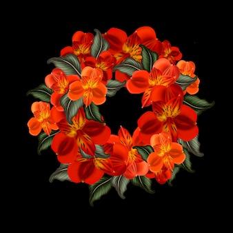 Wreath, round frame of flowers of alstroemeria, lilies