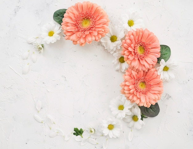 Wreath of spring flowers top view