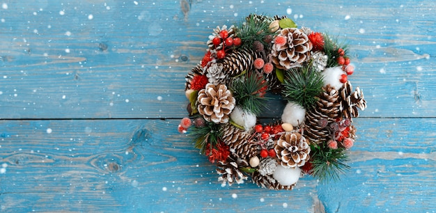 Wreath of spruce and christmas decorations
