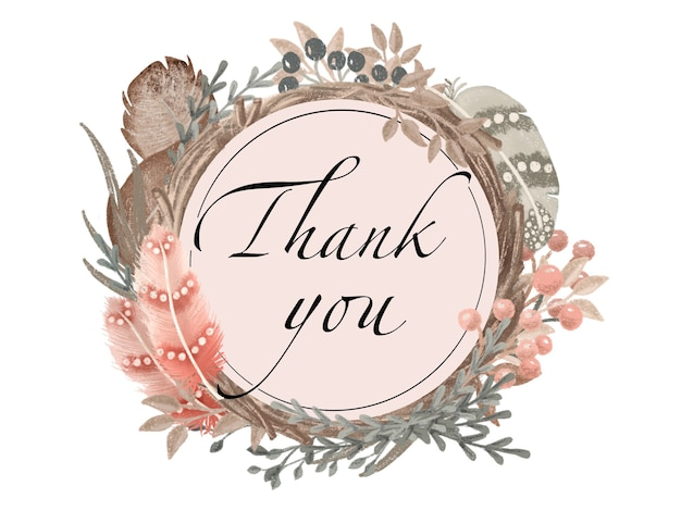 Венок спасибо шаблон поздравительной открытки, перья, цветочные