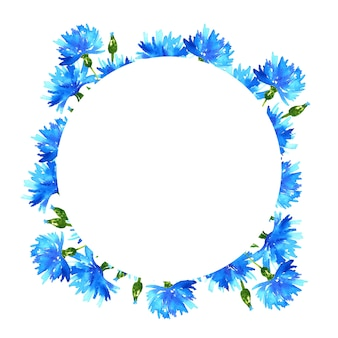 ヤグルマギクの花輪。青い美しい花と丸いフレーム。手描きの水彩イラスト。孤立。