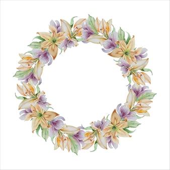 さまざまな花と花輪リリアの花水彩手描き