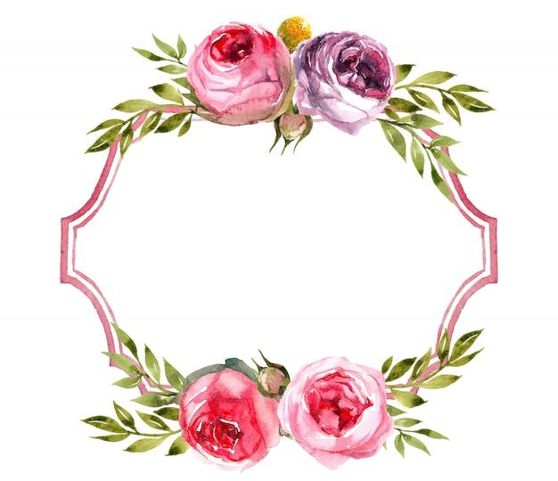 Венок с ручной росписью акварельными элементами для вашего дизайна с розами.