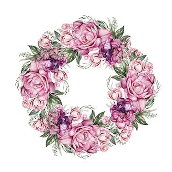 Венок с пионами, можно использовать как поздравительную открытку, пригласительный билет на свадьбу, день рождения и другой праздник и летний фон. акварельная иллюстрация ãƒâ¯ã'â¿ã'â¼