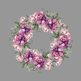 Wreath with peonies, can be used as greeting card, invitation card for wedding