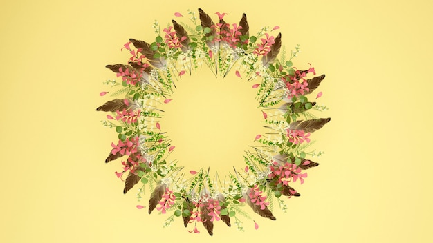 Wreaths of brown feather pink flowers. wreaths flowers and space for add message.