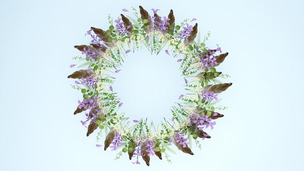 茶色の羽の紫色の花の花輪。花輪の花とメッセージを追加するスペース。