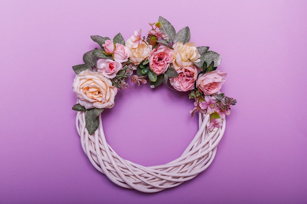 Wreaths with decorative autumn leaves