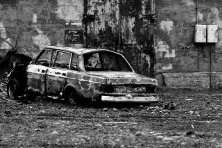 Wrecked car, car