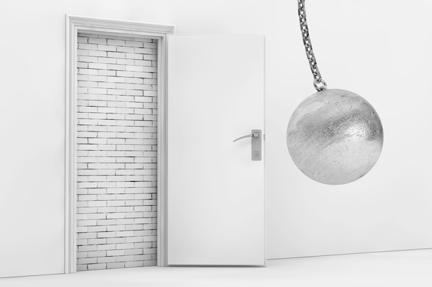Wrecking ball ready to destroy brick wall with blocked opened door extreme closeup 3d rendering