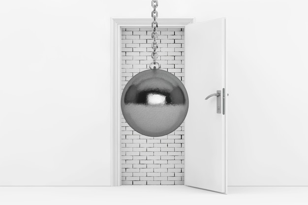 Wrecking ball ready to destroy brick wall with blocked white door extreme closeup 3d rendering
