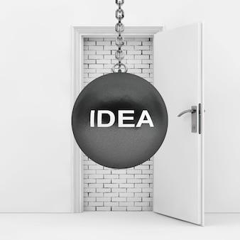 벽돌 벽을 파괴할 준비가 된 아이디어 기호로 공을 부수는 흰색 문 극단적인 근접 촬영을 차단