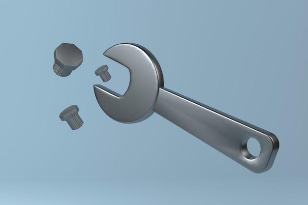 Гаечный ключ и болты 3d иллюстрация