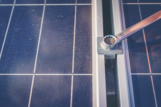 Wrench tightening at solar mounting structure