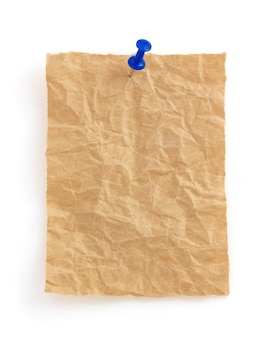 Wrinkled note paper isolated on white background