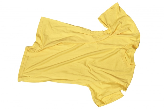 Wrinkles on untidy yellow shirt
