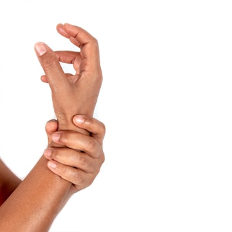 Wrist pain from work isolated on white