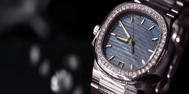 Wristwatch posh, placed on a glittering glass floor