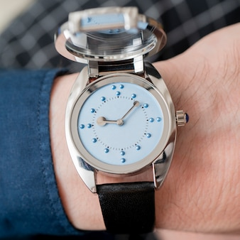 Wristwatches for the blind  opening lid