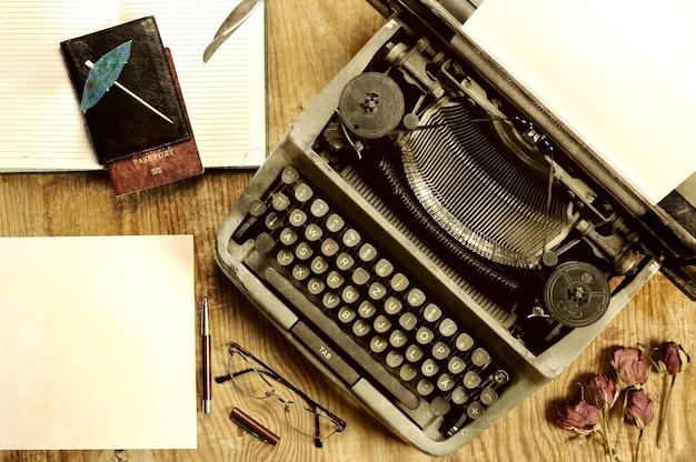Writer desktop with typewriter retro