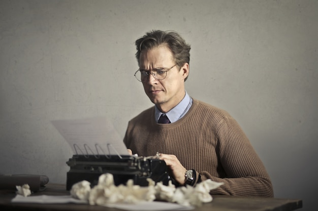 Writer working on a typewriter