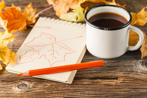 Writing-books, multi-coloured pencils in a cup and autumn leaves