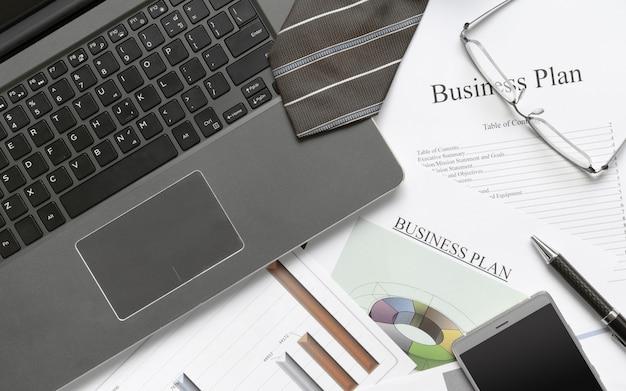 Writing business plan preparation concept.