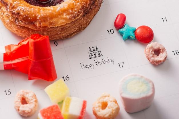 달력 생일에 케이크 쓰기