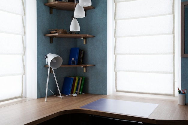 Writing desk with a lamp and book shelves