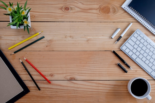 Writing elements on wooden desk