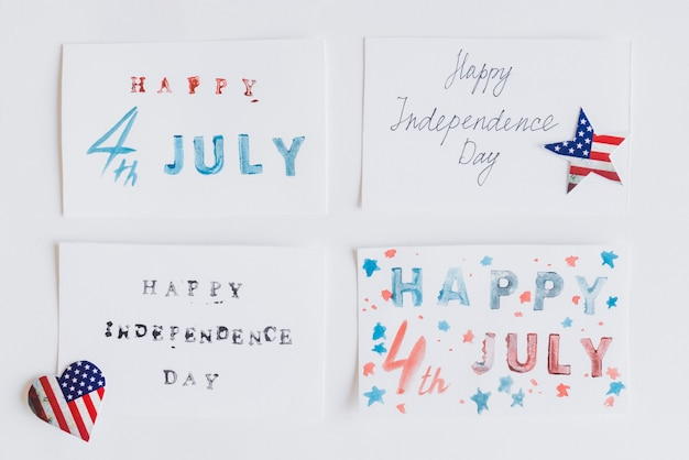 Writing happy 4th july on cards