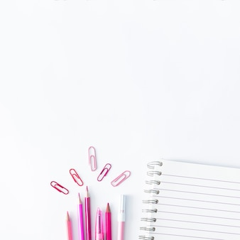 Writing implements in pink color