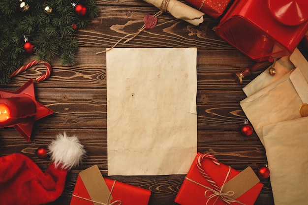 Writing a letter to santa compositon in vintage style with feather