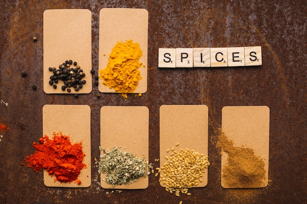 Writing near assorted spices