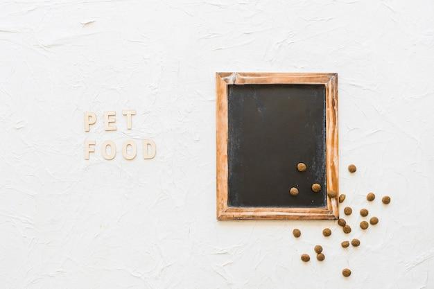 Writing near blackboard and pet food