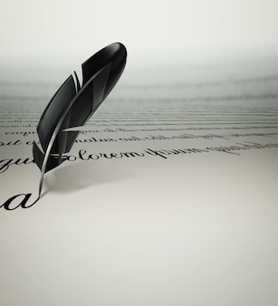 A writing text feather on paper