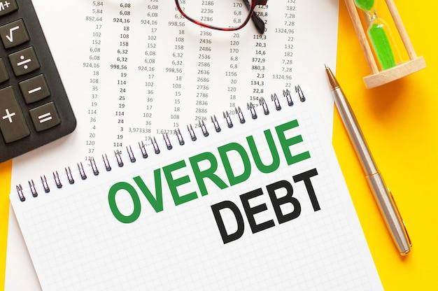 Написание текста, показывающего просроченную задолженность. написание текста просроченной задолженности на белой бумажной карточке, зелеными и черными буквами, желтой стене. бизнес-концепция.