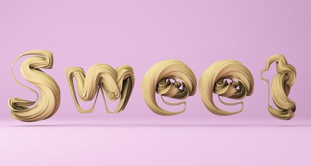 Написано «сладкое» на розовом фоне 3d рендера