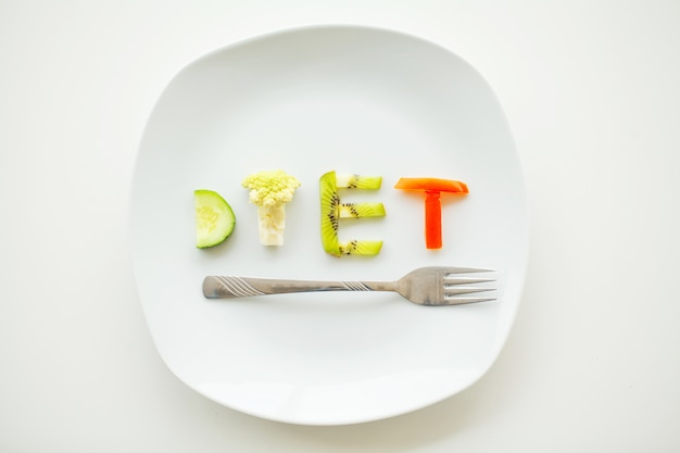 Written with vegetables in healthy nutrition concept
