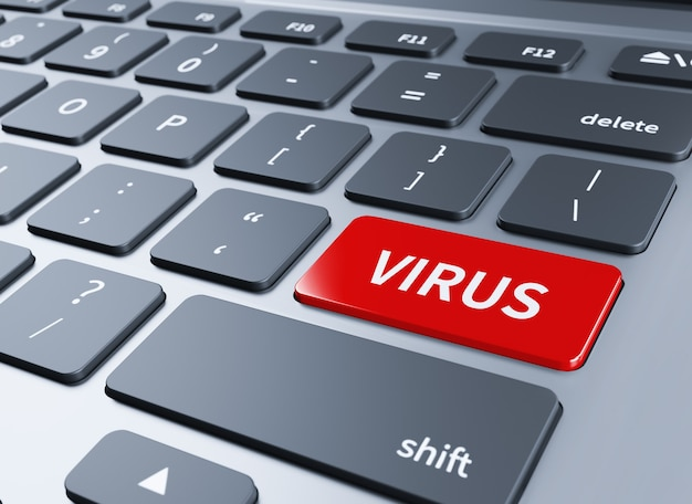 Написанное слово вирус на синей кнопке клавиатуры. 3d иллюстрации