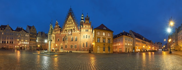 Wroclaw city in poland, panoramic image or town hall