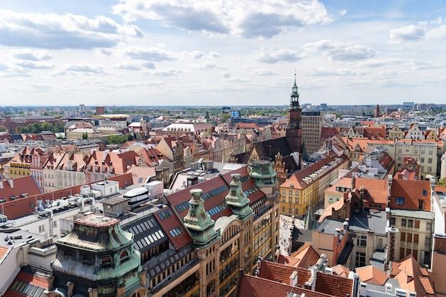 폴란드 브로츠와프 도시의 탁 트인 평면도