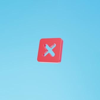잘못된 십자 기호 격리 3d 렌더링 기호 삭제 문자 x 참 또는 거짓 아이콘 3d 삭제