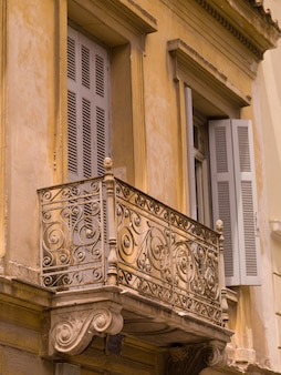 Wrought iron balcony in athens greece