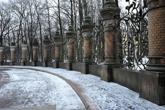 Wrought-iron fencing of the mikhailovsky garden, st. petersburg, russia