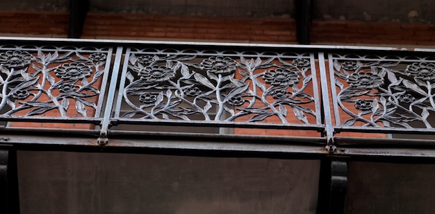 Wrought iron railing in the chelsea hotel in manhattan, new york city, u.s.a.