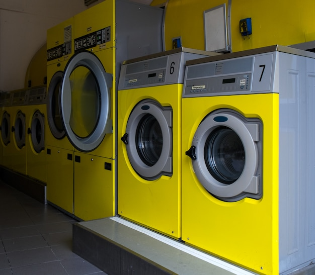 Wshing machines in a public laundromat